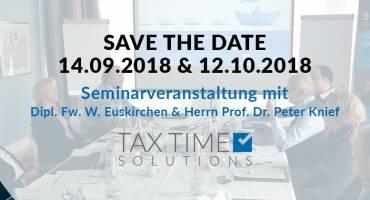 SAVE THE DATE 14.9.2018 & 12.10.2018: Seminarveranstaltungen